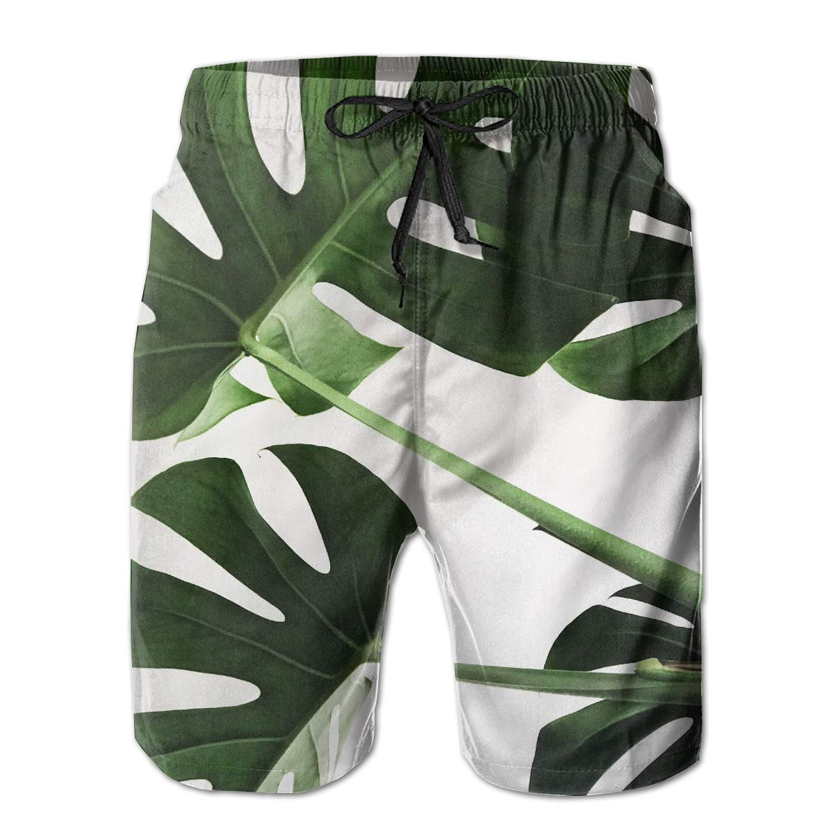 MikonsuPlant Leaf Green Mens Swim Trunks Quick Dry Bathing Suits Beach Holiday Party Board Shorts