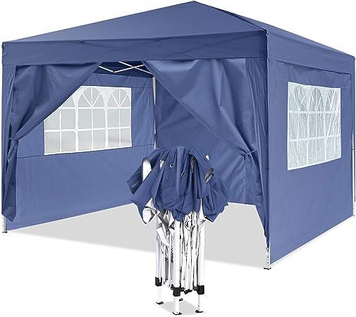 Homdox Carpa de aluminio para jardín, 3 x 3 m, cenador, pérgola con 4 paredes laterales y 2 ventanas, plegable, incluye bolsa de transporte: Amazon.es: Jardín