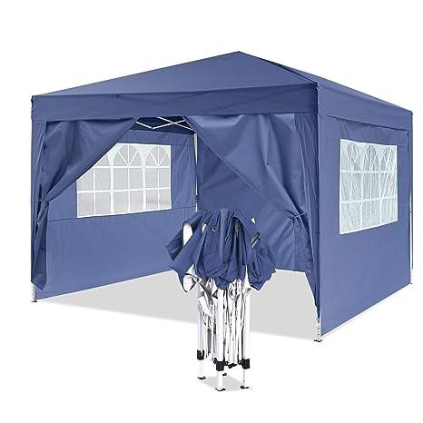 Homdox Tienda Pabellón Carpa 3M*3M con Paredes Laterales y Ventanas Plegables para Fiestas, Eventos, Boda,en Jardín o al Aire Libre,Azul