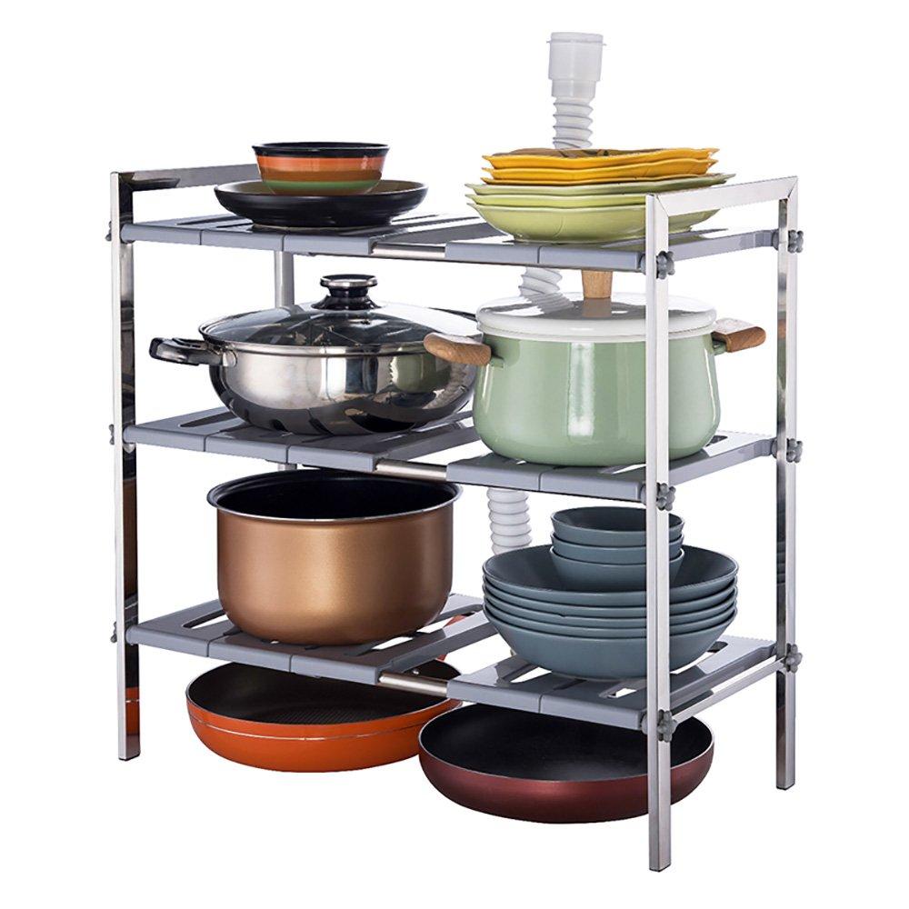 shelf 3 Tier Under Counter Sink Adjustable Storage Rack Entrance Shoe Rack Kitchen Living Room Display Stand BSNOWF