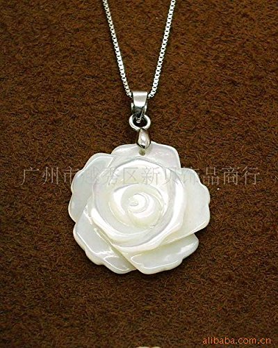 - usongs Natural sea shell jewelry factory direct white hand-carved shell necklace pendant 20MM Rose