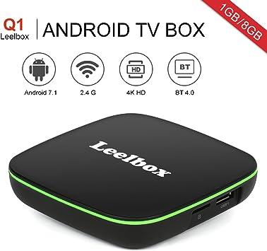 Leelbox Q1 Android 7.1 TV Box Smart TV Box 1GB RAM+8GB ROM con BT 4,0. Soporta 4K(60HZ)/2.4G WIFI/3D/4K/HD/H.265: Amazon.es: Electrónica
