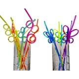 12 Silly Crazy Loop Straws + 6 Butterfly Straws - Assorted Colors, Great Fun for Kids Summer Party