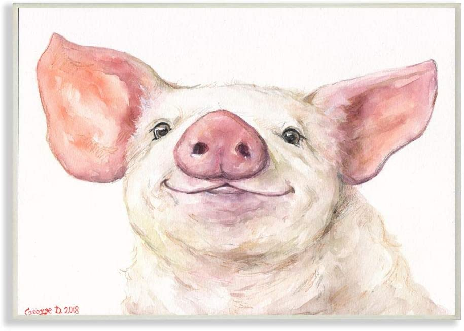 Stupell Industries Large Pig Head Animal Watercolor Painting Wall Plaque, 10 x 15, Multi-Color