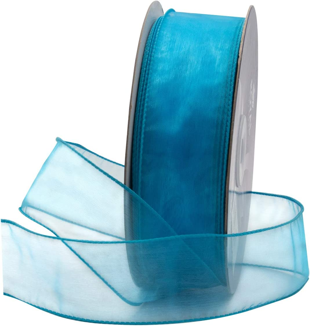 150 FT Spool Bulk by Royal Imports #9 Turquoise Blue Organza Wired Sheer Ribbon 1.5 50 Yard Roll for Floral /& Craft Decoration