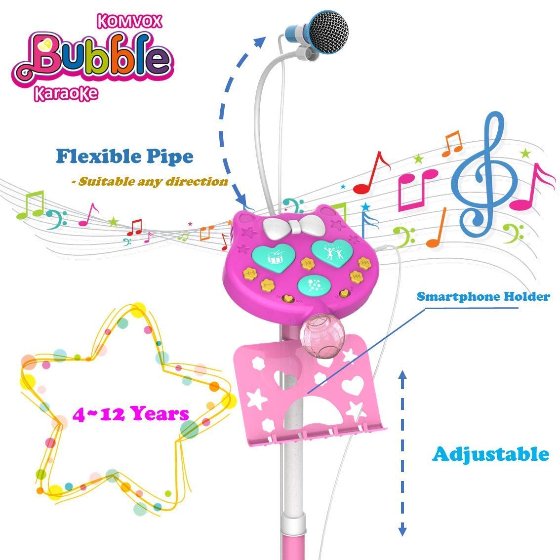 Kids Karaoke Microphone With Stand, Kids Karaoke Machine With Microphone Singing, Creative Birthday Gifts For Girls Age 3 4 5 6 Year Old Boys, Enjoy Bubbles Cheering Drum Effects by TiMi Tree (Image #5)