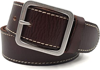 ANTIQUECOLLECTION Leather Mens Belt Casual Wear Polished Buckle Brown