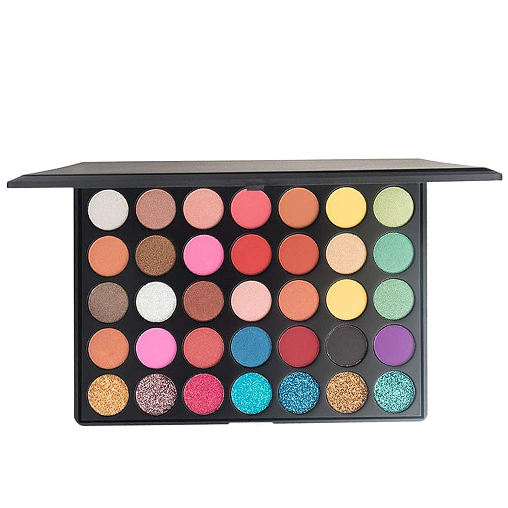 35 Colors Eyeshadow Palette Matte Shimmer Nature Eye Shadow Make up Palettes Waterproof and High Pigment Silky Powder Eye Shadow Cosmetics Set (35GC)