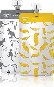 Cherub Baby On The Go Re-usable Mini's Food Pouches – Kangaroo Grey & Cockatoo Yellow, Multi, 10 Count (CHFPMINIYG)