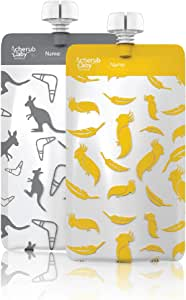 Cherub Baby On The Go Re-usable Mini's Food Pouches – Kangaroo Grey & Cockatoo Yellow, Multi, 10 Count (CHFPMINIYG)