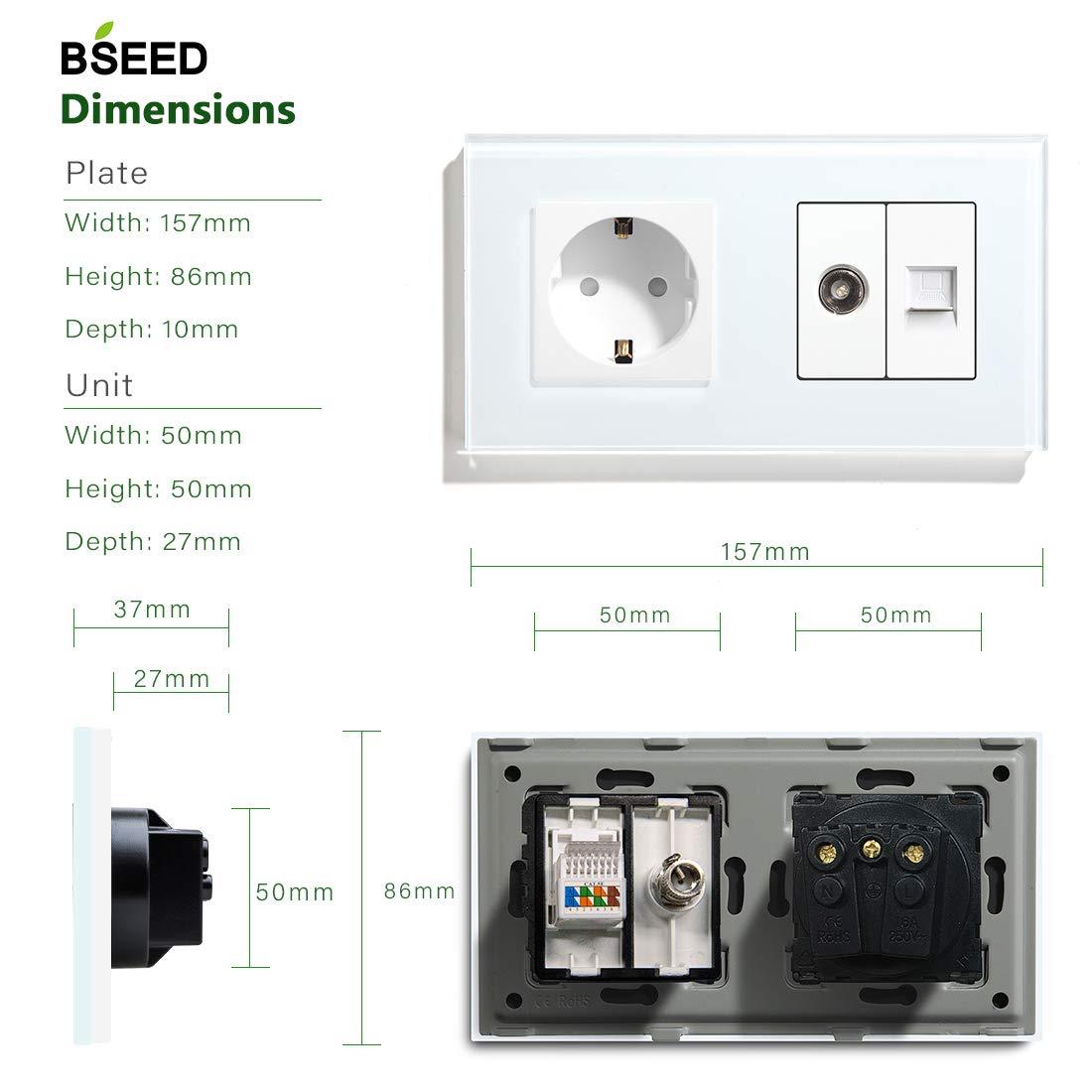BSEED Panel de vidrio 16A Enchufe de la UE con PC Mejorado CAT 5E y USB Conexiones de carga Fuente de alimentaci/ón Enchufes de 100-220V Negro