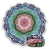 Genovega Thick Round Beach Towel Blanket - Circular Mandala Bohemian Boho Indian Microfiber Terry Beach Roundie Circle Yoga Mat With Fringe,High Color fastness,30-Days Money Guarantee Back (54)