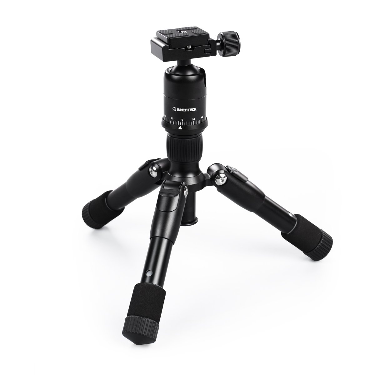 Tripod Mini Folding, Camera Tripod with 360 Ballhead Quick Shoe PlateB for DSLR EOS Canon Nikon Sony Samsung - Travel Portable Tripod Innerteck IT001