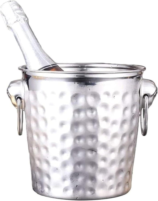 HUYP Cubo de Hielo Multifuncional, Cubos de Vino de Acero Inoxidable con Barra de Tapa Tubo de Bebida Enfriador de Vino Party Cube de Hielo Contenedor con asa de Transporte (Size : 5L)