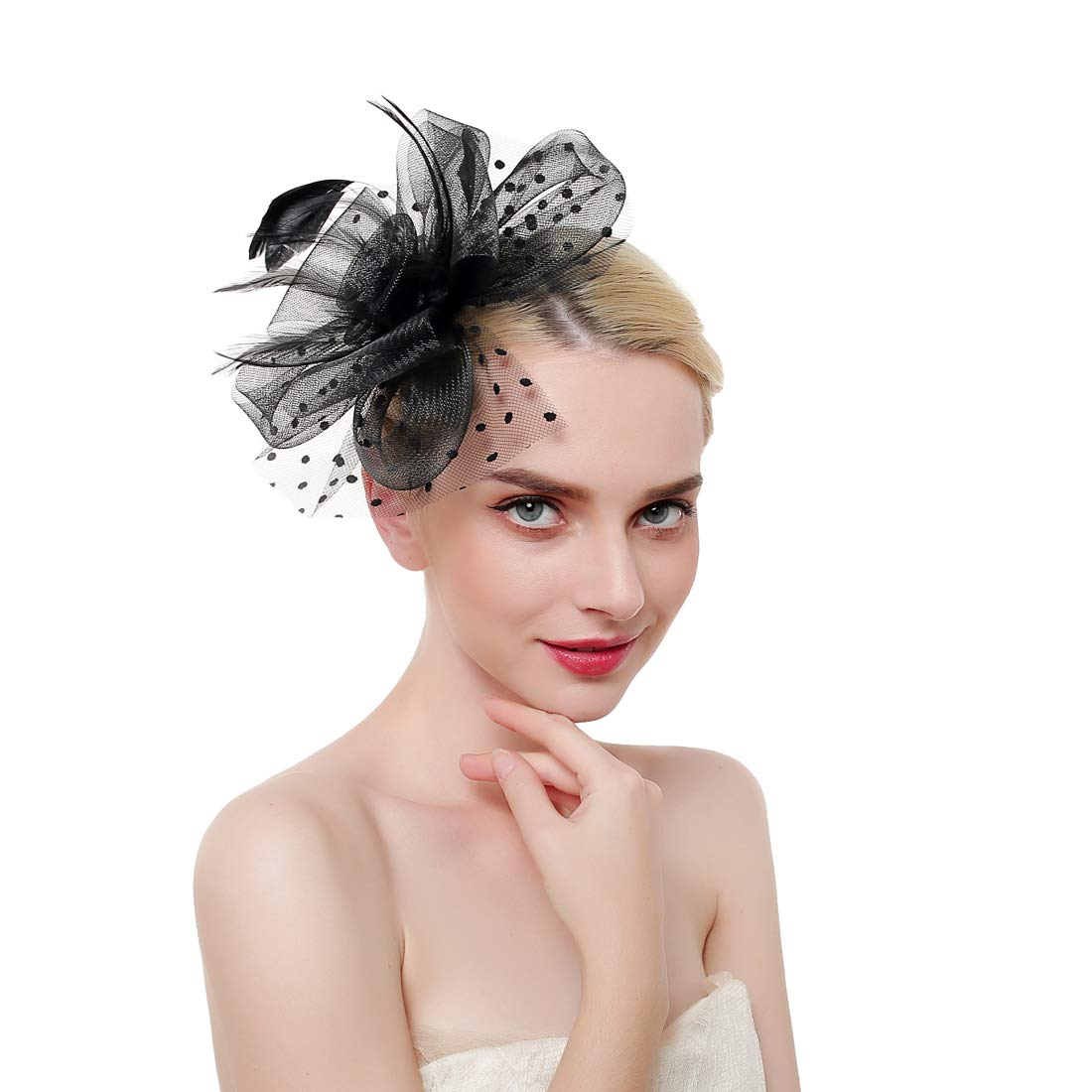 Flower Cocktail Tea Party Headwear Feather Fascinators Top Hat for Girls  and Women at Amazon Women s Clothing store  97dc7adc4550