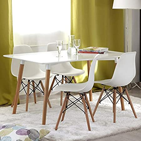 Hogar24-Conjunto Tower, Mesa de salón Comedor Acabado Lacado Blanco y Patas de Madera+ 4 sillas. Medidas 120 x 80 x 75 cm