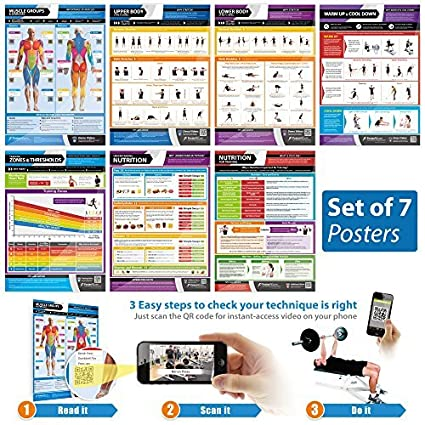 Amazon com: Set of 7 Body Conditioning Posters | Laminated