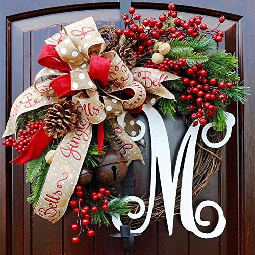IF.HLMF Christmas Wreath, American Gold Wreath at Front Door, Artificial Outdoor Decoration, Decorative Ornament, Christmas Hanging Cane -