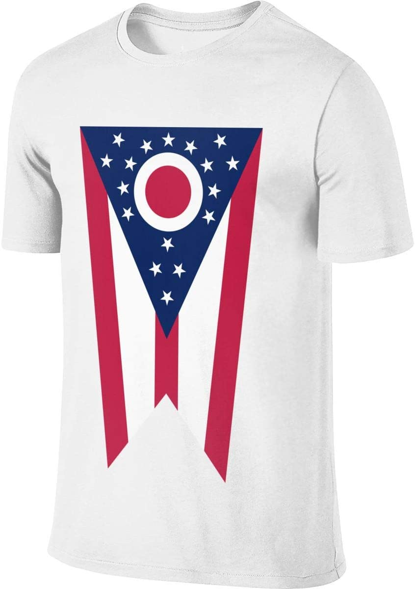 Flag_of_Ohio_State-1 - Camiseta de Manga Corta para Hombre, diseño Casual, S, Blanco: Amazon.es: Deportes y aire libre