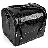 Amzdeal Makeup Case Professional Makeup Train Case Cosmetic Organizer Storage Box with 4 Sliding Trays, PU Leather (Black)