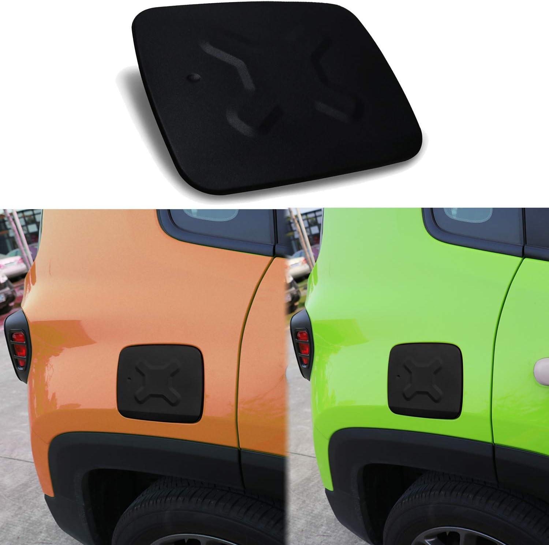E-cowlboy Fuel Filler Gas Cap Cover Aluminum Black Exterior Accessories Gas Tank Cover for Jeep Renegade 2015-2018
