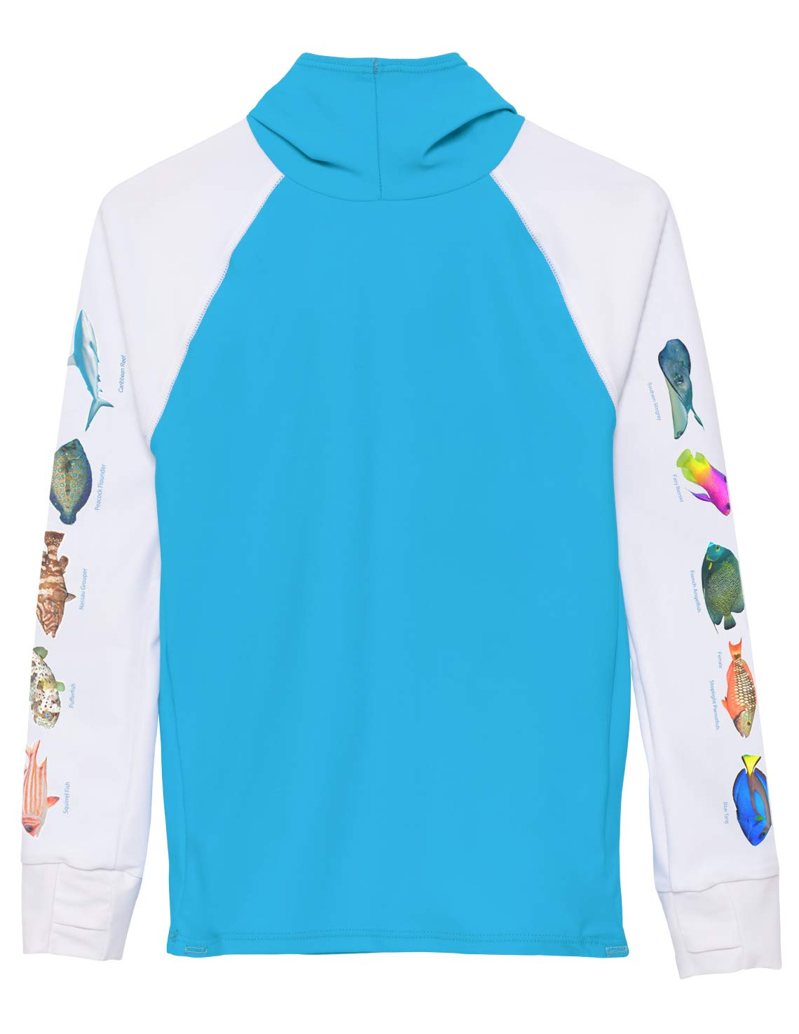 Tuga Girls Hooded Snorkel Rash Guard - Caribbean Fish ID (UPF 50+), Hawaii, 11/12 yrs by Tuga Sunwear
