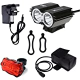 CDC® 5000 Lumen 2x Cree XML U2 LED Waterproof Bike Cycling Bicycle Light Hand-free Headlamp HeadLight + 4x18650 Battery Pack + Charger + Rear Light, 4 Switch Modes for Camping Hiking Bicycling Riding