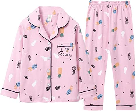 Little Girl Pjs Pajamas Suit Winter Pajamas Children Pajamas Long-Sleeved Pajamas Clothes 2 Sets of Cotton Age 3-11 Years Old