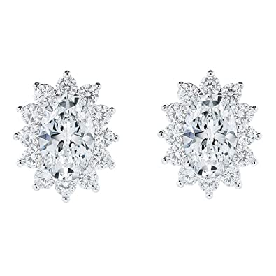 d643c3a735c69 Prime Amazon Day - Cate & Chloe Sage 18k White Gold Halo CZ Stud Earrings,  Beautiful Trendy Cubic Zirconia Flower Cluster Earrings, Oval Cut Crystal  ...
