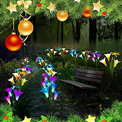 CGN Outdoor Solar Garden Stake Lights - Solar Powered Multi-Color Changing Lights with 3 Lily Flowers and Butterfly, Hummingbird, Dragonfly, Solar LED Decorative Lights for Garden