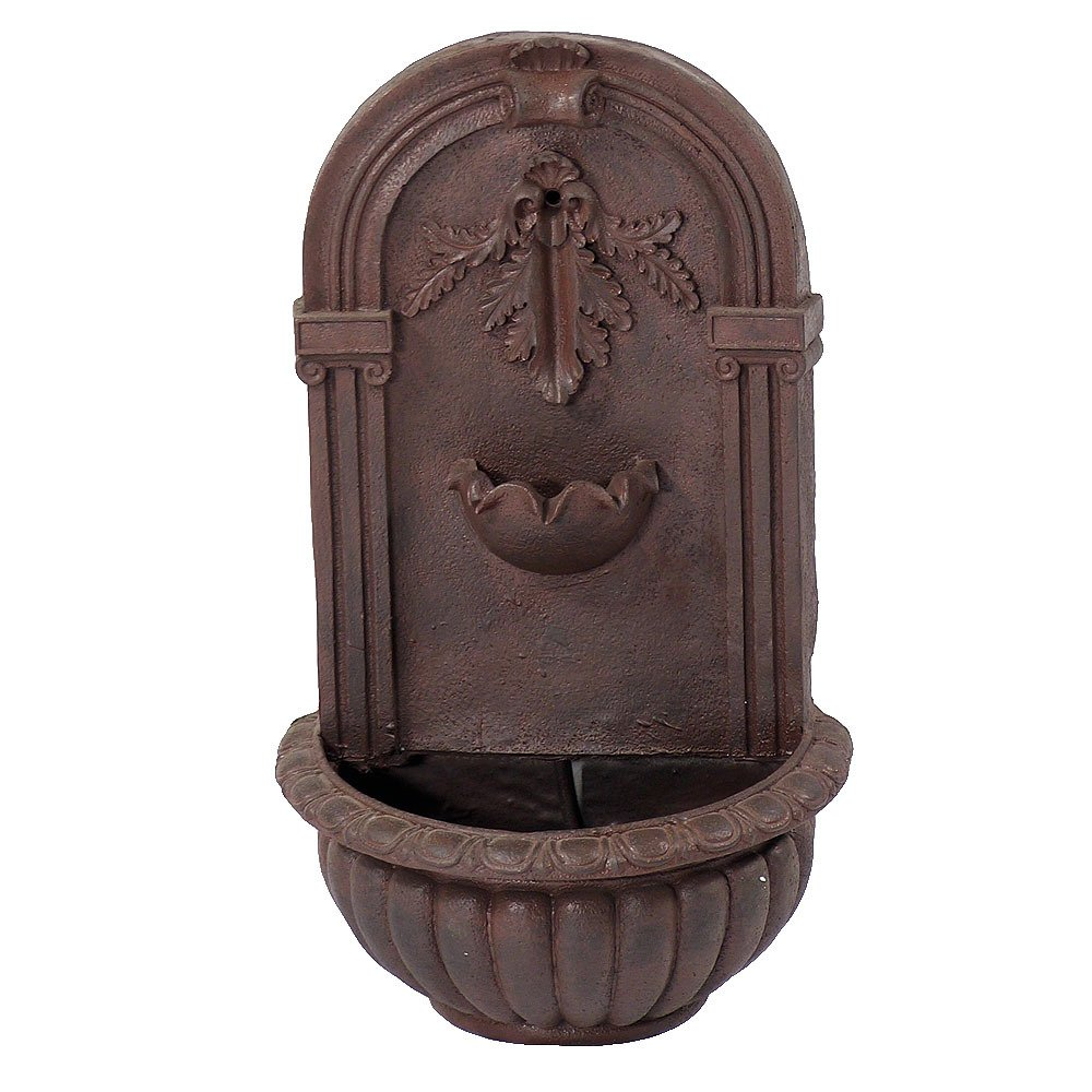 Sunnydaze Florence Outdoor Wall Fountain, Iron Finish, 27 Inch