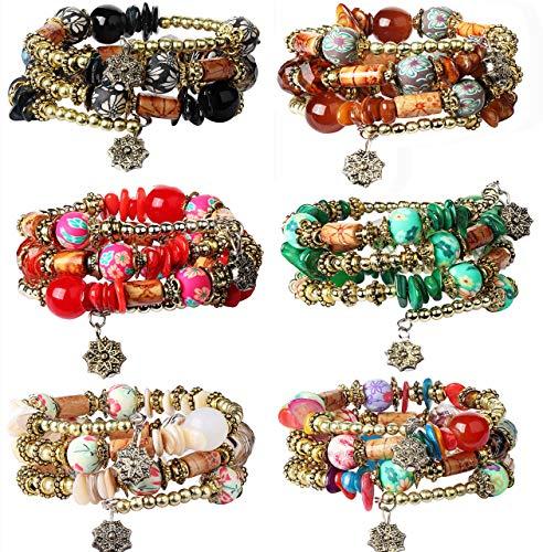 FIBO STEEL 6 Sets Bohemian Stackable Bead Bracelets for Women Girls Stretch Multilayered Bracelet Set Multicolor Jewelry (D: 6 Sets)
