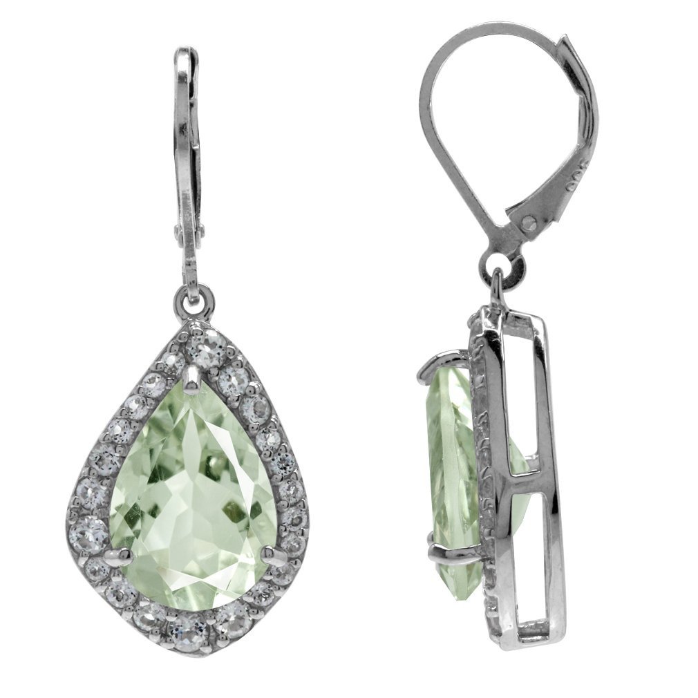 Natural Green Amethyst /& White Topaz Gold Plated 925 Sterling Silver Leverback Earrings HUGE 9.3ct