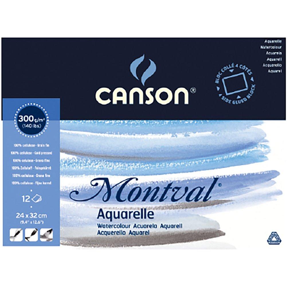 CANSON Bloc de papier aquarelle Montval, 300 x 400 mm 200006545