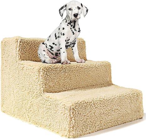 ACC Escalera para Perros de 3 Pasos para Mascotas Escalera Suave Cachorro Lavable Cobertura de la Pendiente,Beige: Amazon.es: Deportes y aire libre