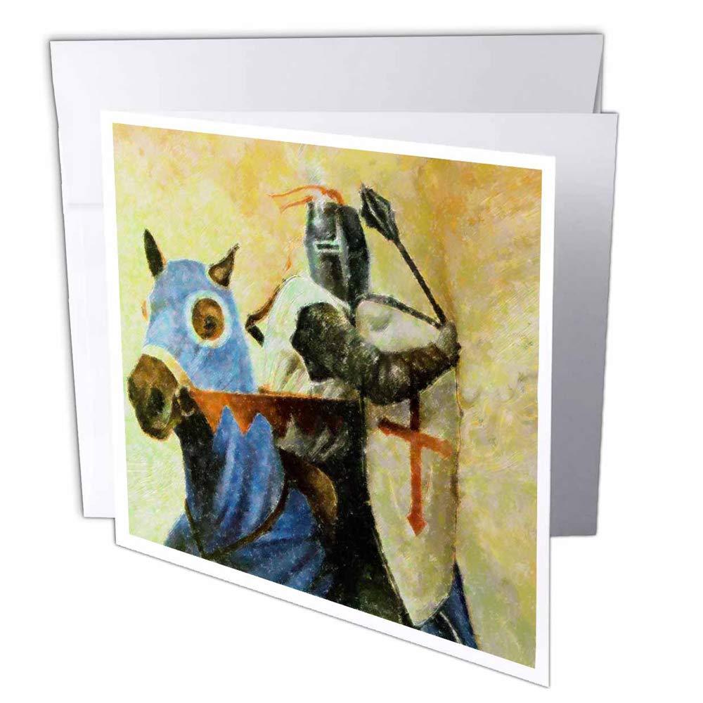 3dRosa gc_35116_2 Grußkarte Mittelalterlicher Ritter und Pferde , 15,2 x 15,2 cm, Blau und Braun, 12 Stück B07BJCHD38 | Vielfältiges neues Design