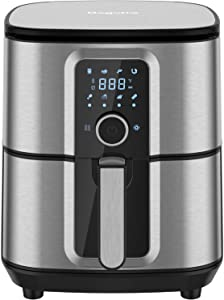 Air Fryer, Bagotte 5.8QT Air Fryer Stainless Steel Electric Hot Air Fryers Oven Oilless Cooker, 360° Circulation Hot Air System, Nonstick Basket, Knob Controls & Touch Screen, 100 Recipes