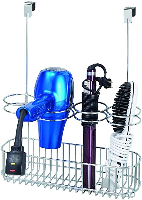 mDesign Metal Over Door Bathroom Hair Care /& Styling Tool Organizer Storage Basket for Hair Dryer Satin Hang Inside or Outside Cabinet Doors Curling Wands Flat Irons Hair Straighteners