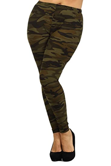 5238d60d23f4c ALWAYS Womens Junior Plus Stretch Camo Print Leggings Olive Green One Size  at Amazon Women's Clothing store: