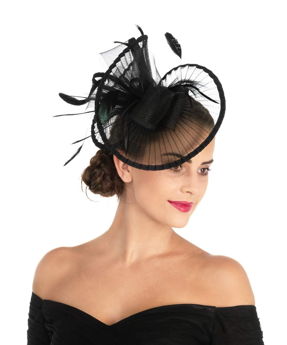 Lucky Leaf Women Girl Fascinators Hair Clip Hairpin Hat Feather Cocktail Wedding Tea Party Hat (2-Black) by Lucky Leaf (Image #4)