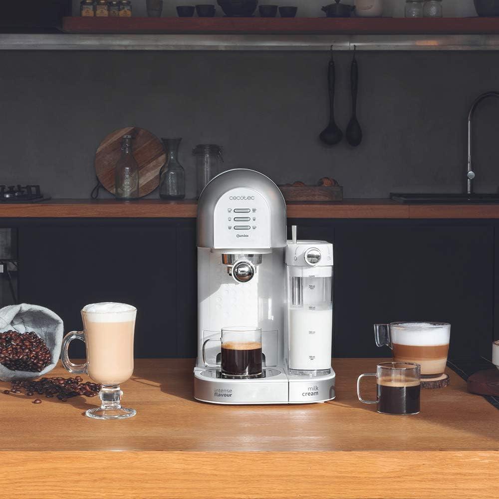 Cecotec Cafetera Semiautomática Power Instant-ccino 20 Chic Serie Bianca. para café molido y en cápsulas, 20 Bares, Depósito de Leche 0.7ml, Depósito de Agua 1.7L, 1470W: Amazon.es: Hogar