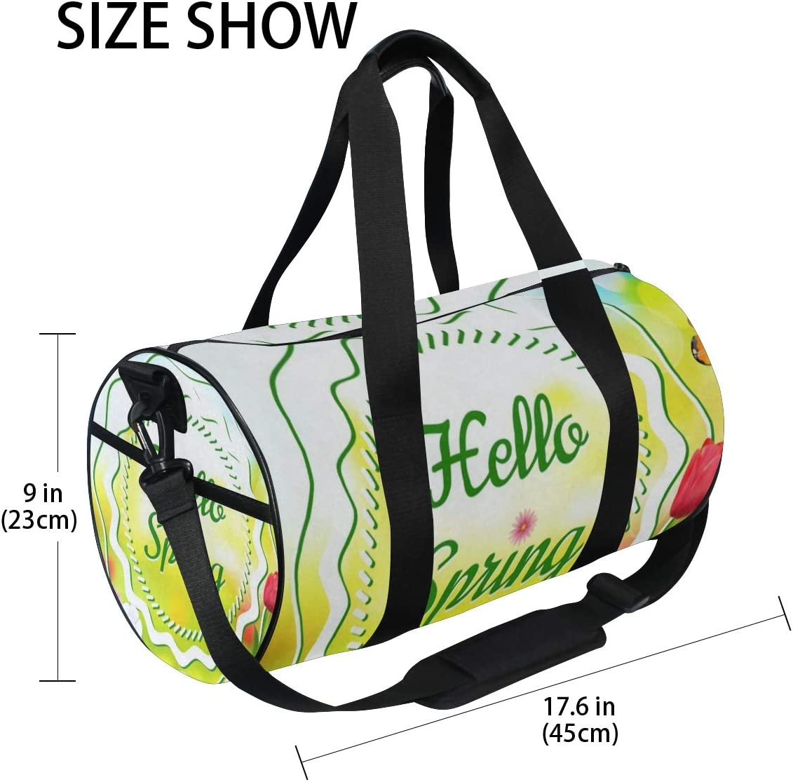 Sports Bag Hello Spring Floral Flowers Butterfly Mens Duffle Luggage Travel Bags Kid Lightweight Gym bag