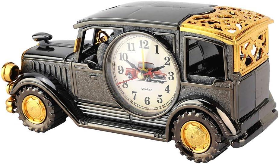 Jadpes Reloj Despertador de Escritor, Multifunción Metal Antiguo Decoración para el hogar Decoración Adornos Modelo de Coche Porta bolígrafo Reloj para Estudiante Regalo de cumpleaños(#3)