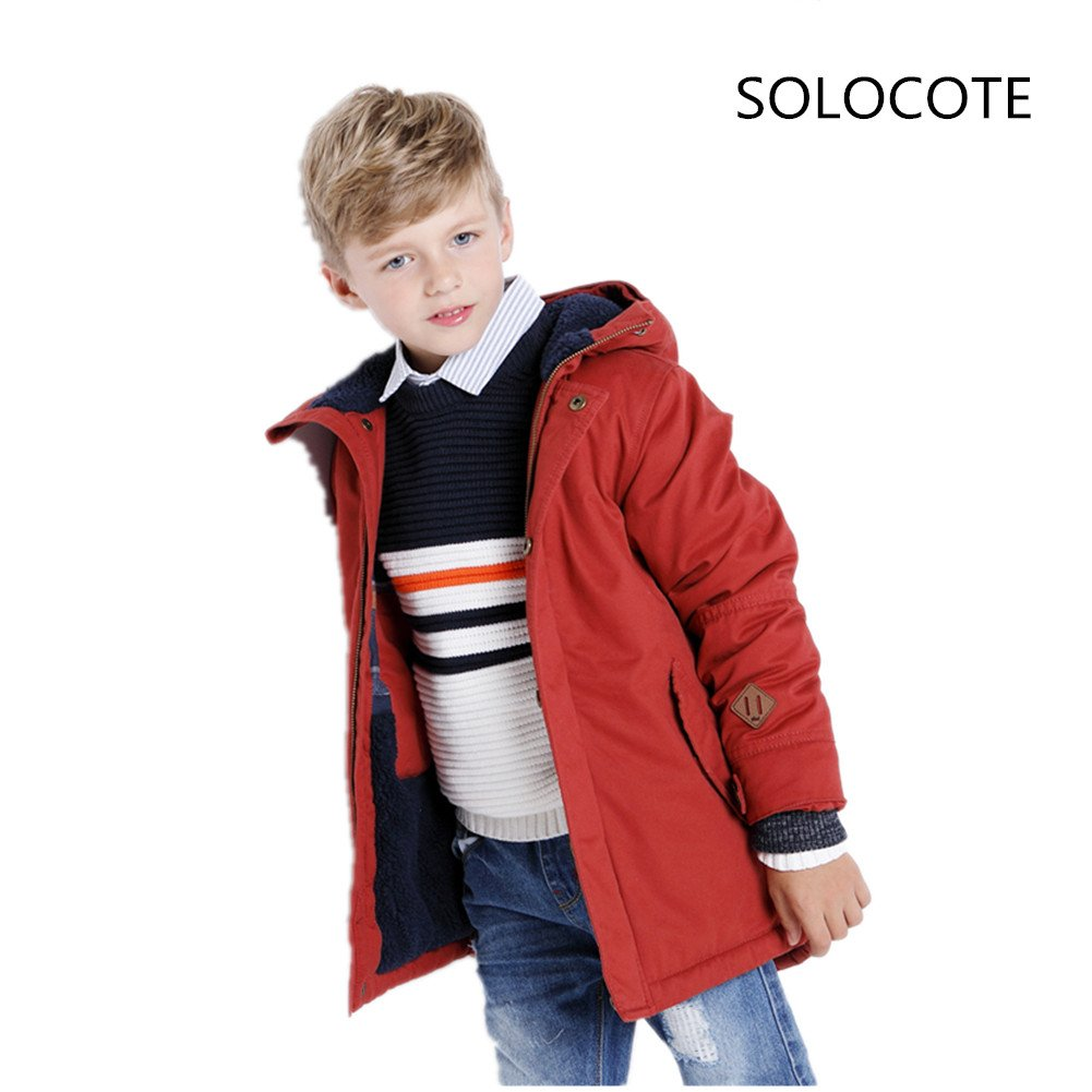 SOLOCOTE Winter Coats Boys Cotton Thick Waterproof Outdoor Windbreaker Jacket