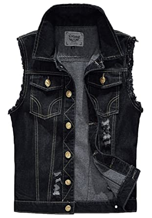 Sawadikaa Mens Vintage Denim Vest Jean Jacket Waistcoat Cowboy Jacket Outerwear Black X-Small