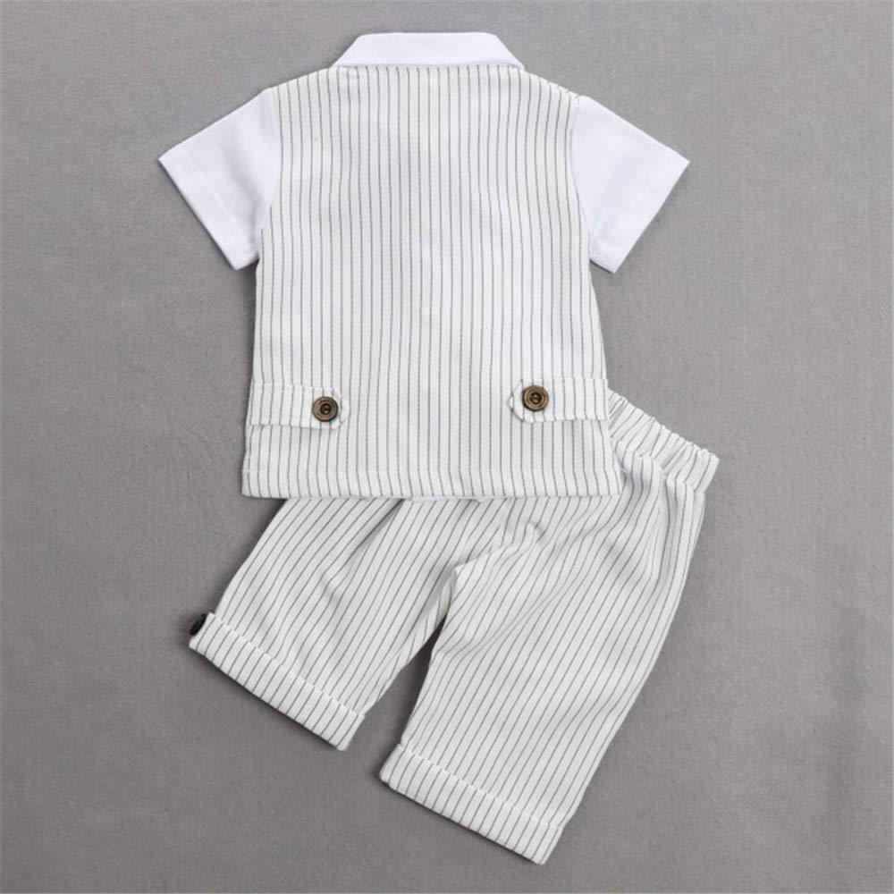 Gar/çon Gentleman Costume Manches Courtes Trois pi/èces Ensemble Coton 9 Mois-4 Ans