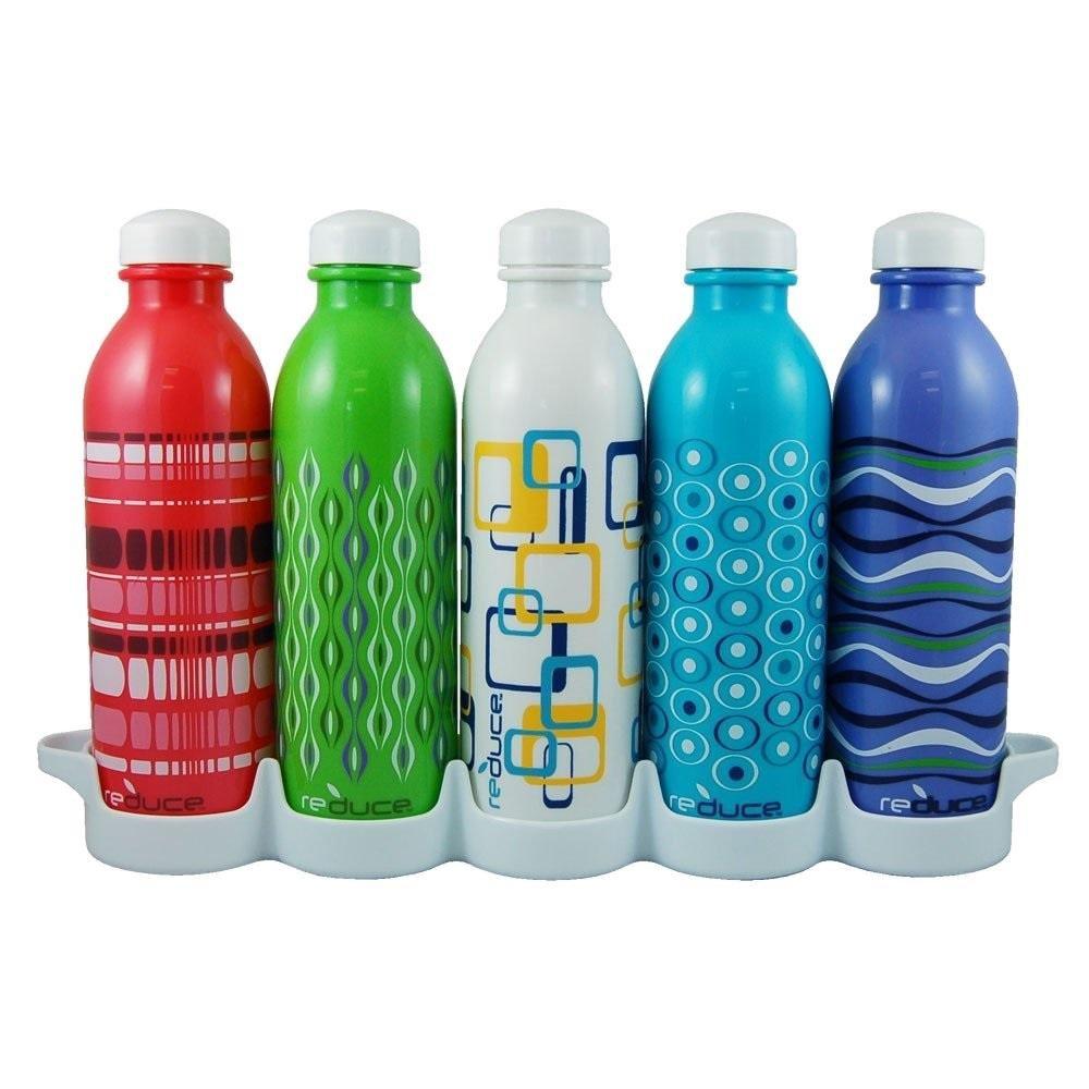 Reduce WaterWeek Classic Reusable Water Bottles, 16oz - Includes 5 Refillable Water Bottles Plus Bonus Fridge Tray For Your Water Bottle Set - Leak Proof Twist Off Cap - Reduce Plastic Use by REDUCE