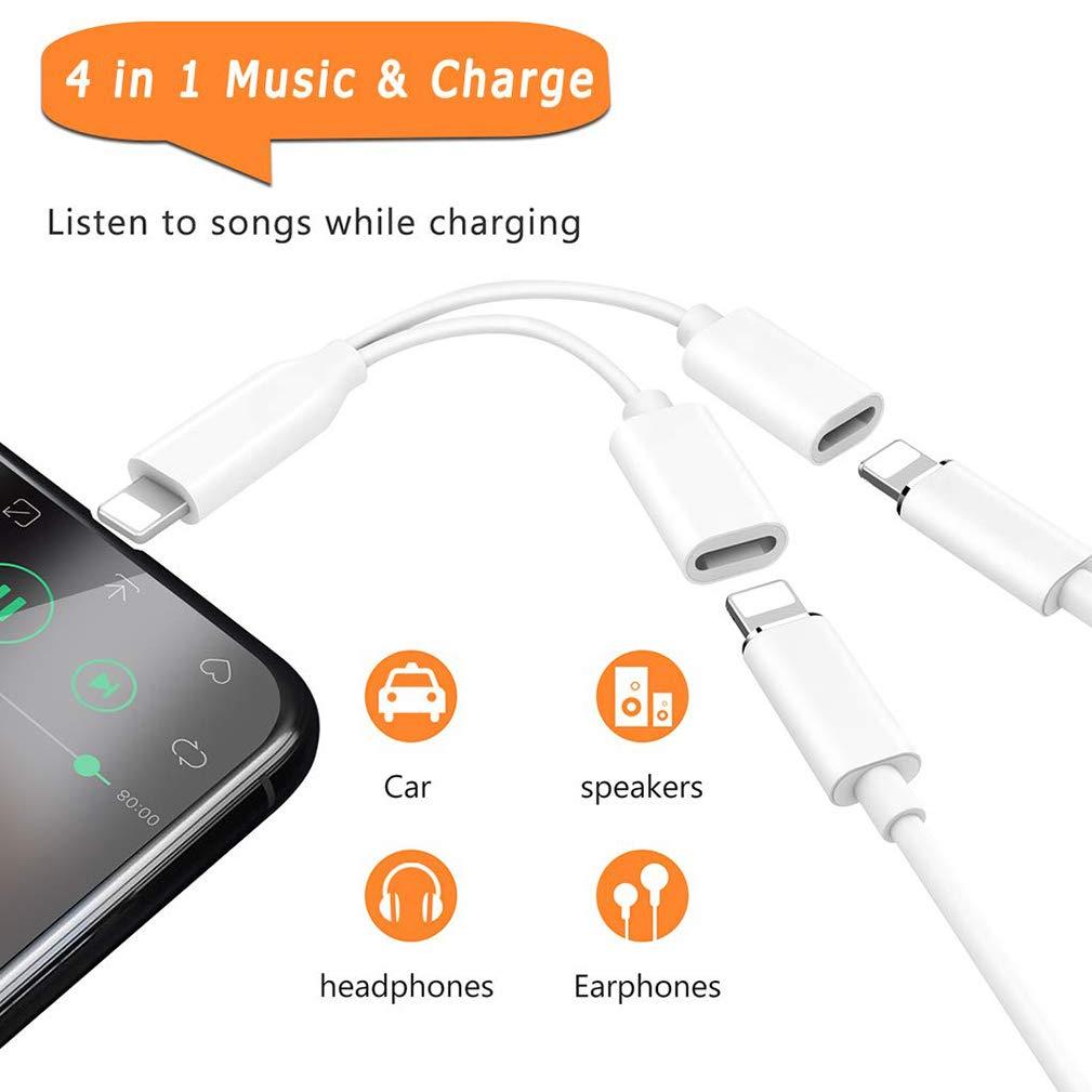 8 Adattatore Cuffie Jack per iPhone 7 Cuffie 4 in 1Cavo Audio Doppio per iPhone X//XS//XR 8Plus 7//7 Plus Adattatore Auricolari Supporto Chiamata + Carica + Musica + Controllo Convertor Bianco