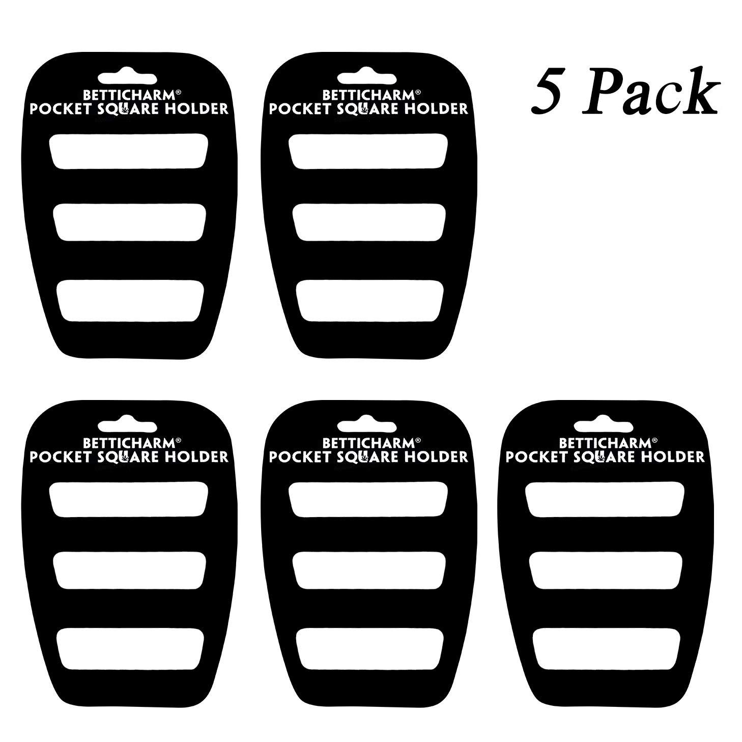 BettiCharm Slim Pocket Square Holders, Men's Suit Handkerchiefs Keeper/Organizer (5 Pack)