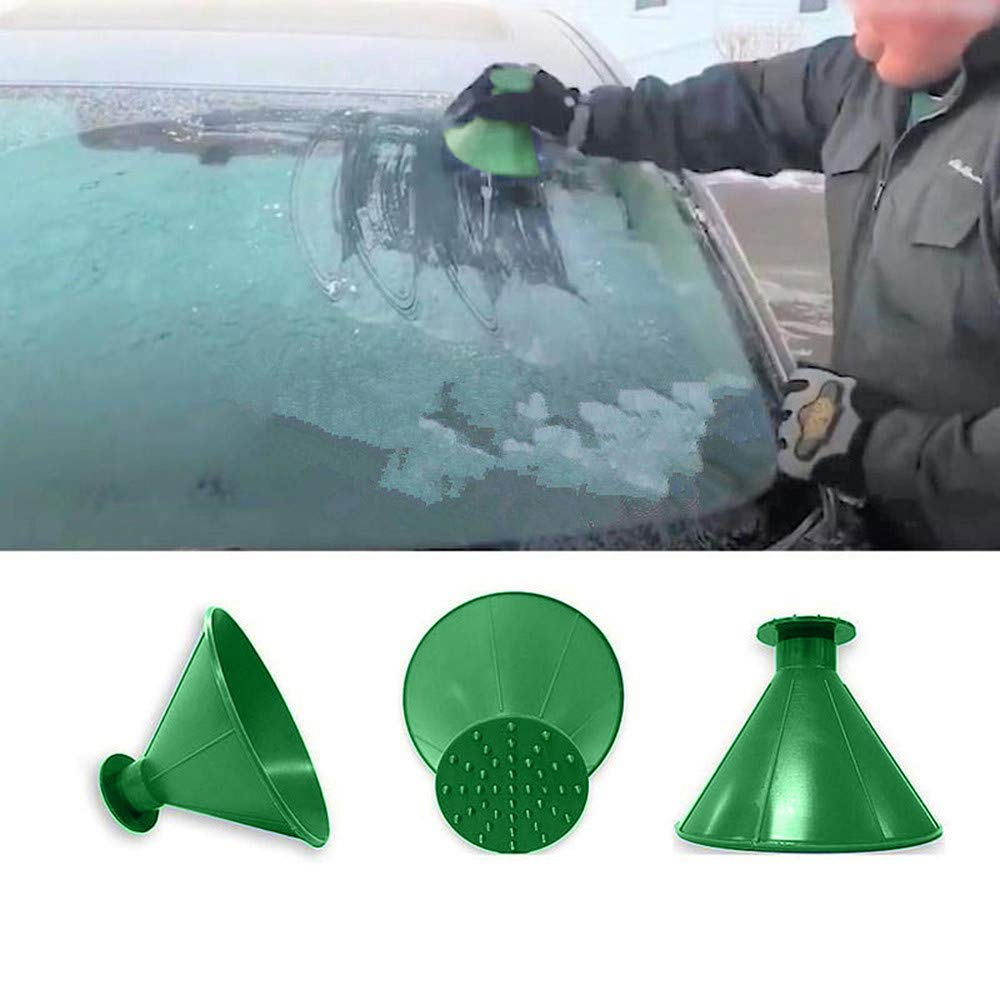 BSGSH Scrape A Round Magic Cone-Shaped Windshield Ice Scraper Snow Shovel Tool, Car Windshield Snow Removal, Cone Funnel Shaped (Green)